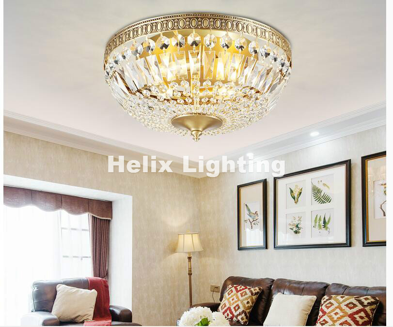 Free Shipping Modern Nordic Brass LED European Style Aisle Bedroom Balcony Ceiling Lamp Crystals Bronze LED Ceiling Lighting
