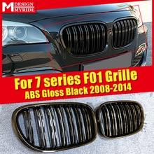 цена на F01 Front Grille ABS Material Glossy Black For F01 740i 745i 750i 760Li 2-Slats Front Bumper Kidney Grille Car styling 2008-2014