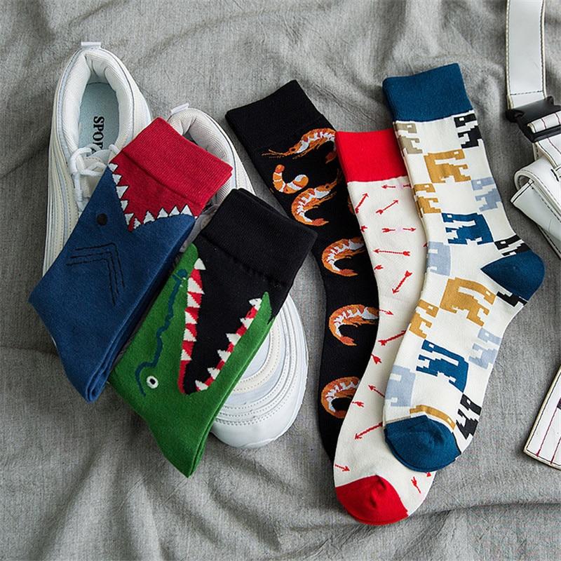 Men Fashion Print Cartoon Crocodile Shark Square Arrow Small Shrimp Colorful Socks Soft And Comfortable Women Cotton Socks