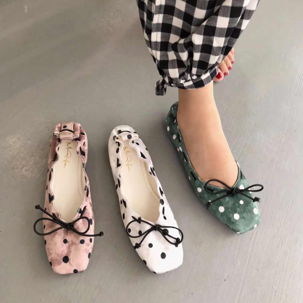 Square toe butterfly-knot moccasins designer polka dot pattern women single  shoes elastic band ballet f33691d92a19