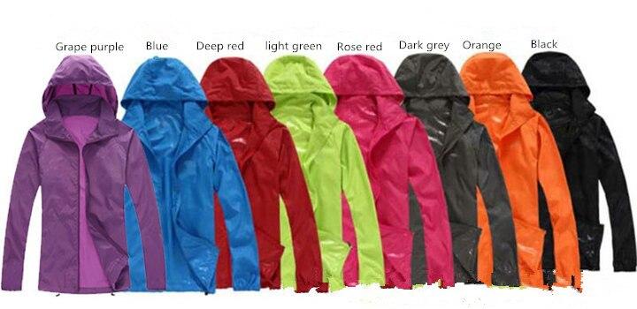 Spring Summer Autumn athletics Jacket Womens Hooded Outwear Jacket Thin Windbreaker Men anti UV anti radiation waterproof
