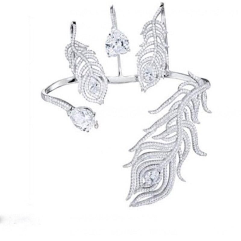 Bracelet de luxe en cristal argent plume Bracelet de paume femmes fille couleur or blanc manchette à la main mode brillant strass Bracelet bijoux - 6