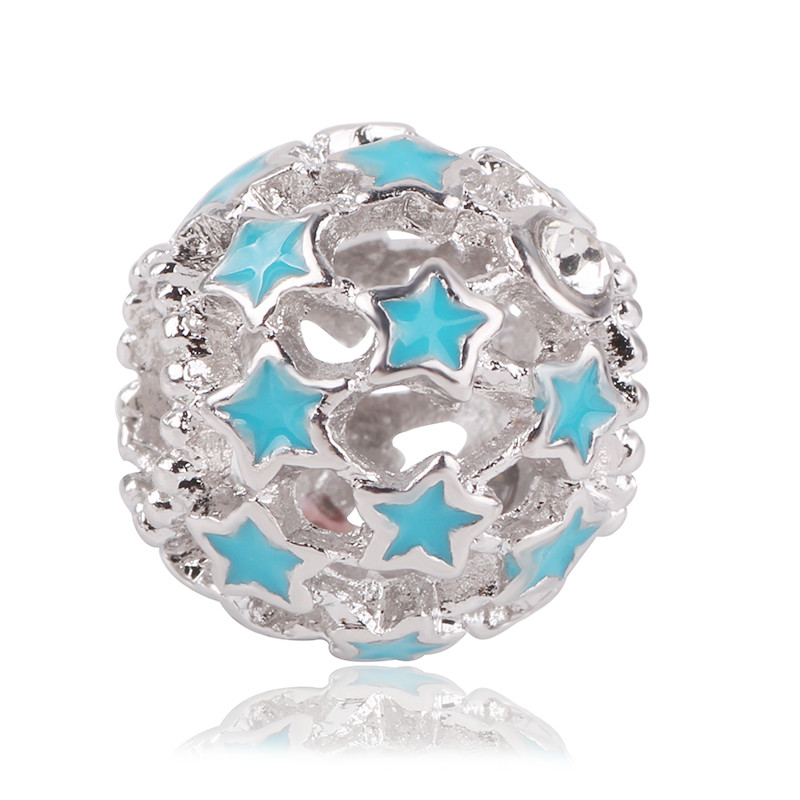 Simple Style Big Ball Stars Crystal Flowers diy bead fit Original Pandora charms silver Bracelet trinket jewelry for women Gifts in Beads from Jewelry Accessories