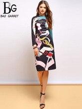 Baogarret Spring Fashion Runway Long Sleeve Dress Womens Cartoon Print Beading Midi Pencil Slim Elegant