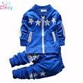 2015 novo desgaste do Verão do bebê Menino conjunto de roupas terno dos esportes do menino conjunto de roupas crianças outerwear casaco de fato de treino camisa roupas T + pant