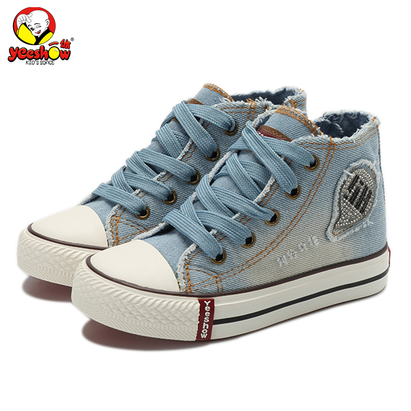 Children Canvas Shoes Boys Girls Fashion Sneakers 2018 New Spring High Top Jeans Denim Sneakers Classic Casual Shoes for Kids