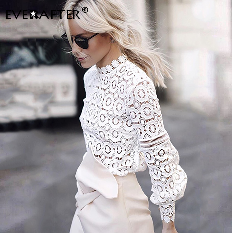EVERAFTER Elegant white lace blouse shirt women lantern sleeve sexy hollow out embroidery patchwork blouses autumn tops female