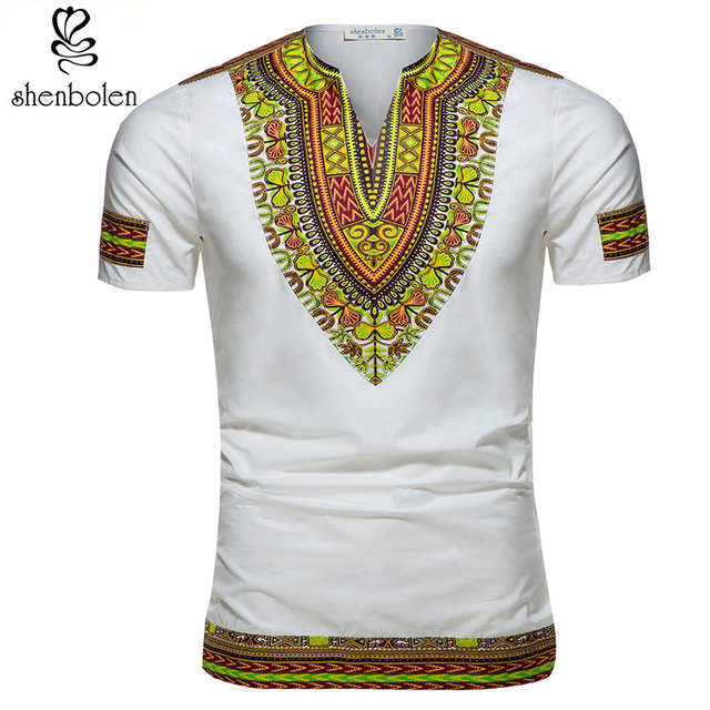 African Tradition Clothes Men's African Print Shirt Dashiki Fashion T-Shirt Tops 3