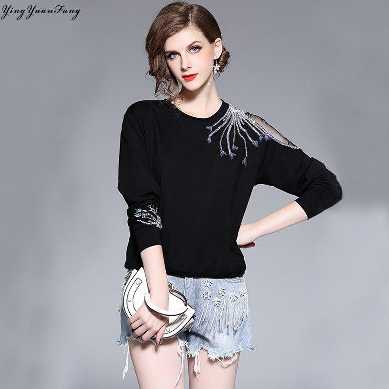 YingYuanFang Fashion new hollow mesh yarn stitching sequin bead long sleeve thin sweatshirts