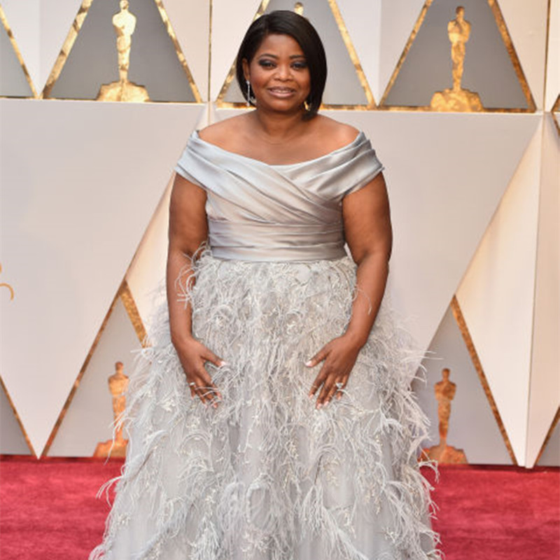 Weddings & Events Brave Octavia Spencer Celebrity Dresses For The 89th Academy Awards Oscar A-line Cap Sleeve Silver Satin Lace Prom Gowns Feathers 50% OFF