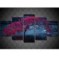 5d Diamond embroidery Cross stitch kit 3d Diy Diamond painting Needlework Full Rhinestone Tree Leaves Purple Autumn 5pcs JS2922