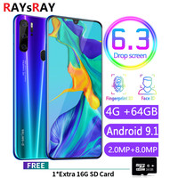 Raysray P35 4G LTE Cell Phone 4G RAM+64GB ROM 4800mAh Mobile Phone android 8MP+3.2MP cellphone Dual SIM Cards Face Recognition