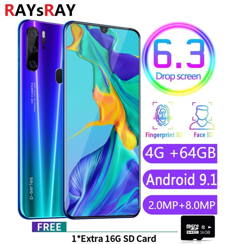 Raysray P35 4G LTE téléphone portable 4G RAM + 64 GB ROM 4800 mAh téléphone portable android 8MP + 3.2MP téléphone portable double cartes SIM reconnaissance faciale