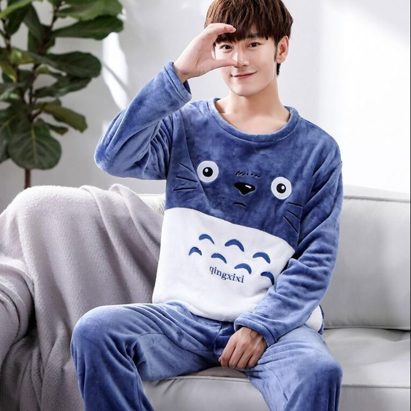 Pajamas Set Men Winter Warm Sleepwear Cartoon Flannel Pyjama Long Sleeve Pants Round Collar Coat 2Piece/Set Man Home Pjs