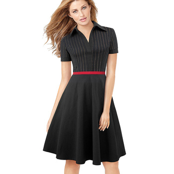 """Agradable para siempre rojo retro Rayas patchwork vestidos 1950 """"s Turn-Down Collar vestido Pinup mujeres fiesta vestido A080"""
