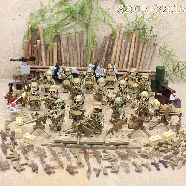 8pcs Special Forces World War 2 Military SWAT Army Weapon Soldier Gun Marine Corps Building Blocks Figures Toy Boy Gift Children xinlexin 317p 4in1 military boys blocks soldier war weapon cannon dog bricks building blocks sets swat classic toys for children