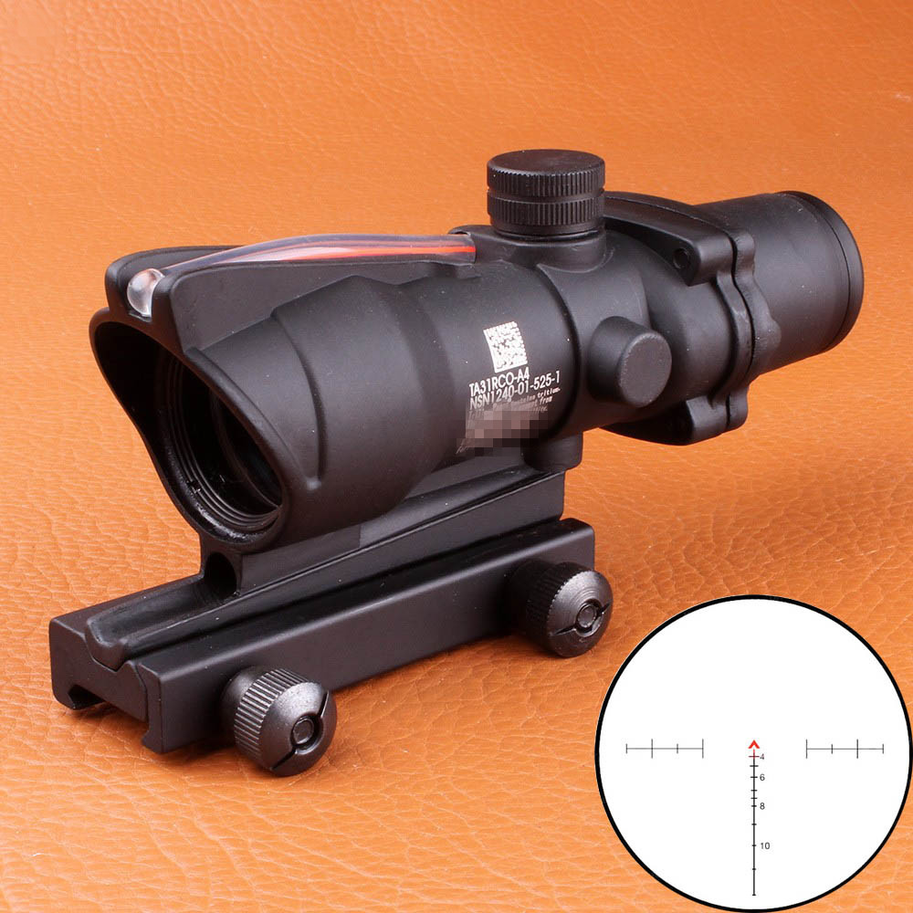 Hunting Riflescope Chevron ACOG 4X32 Real Fiber Optical Scope Red Green Illuminated Glass Etched Reticle Tactical