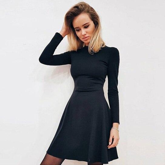Herbst Mode 2018 Frauen Langarm Bodycon O-ansatz Beiläufige Kleid Winter Vintage Sexy Mini Party Kleider Herbst Kleidung Vestidos