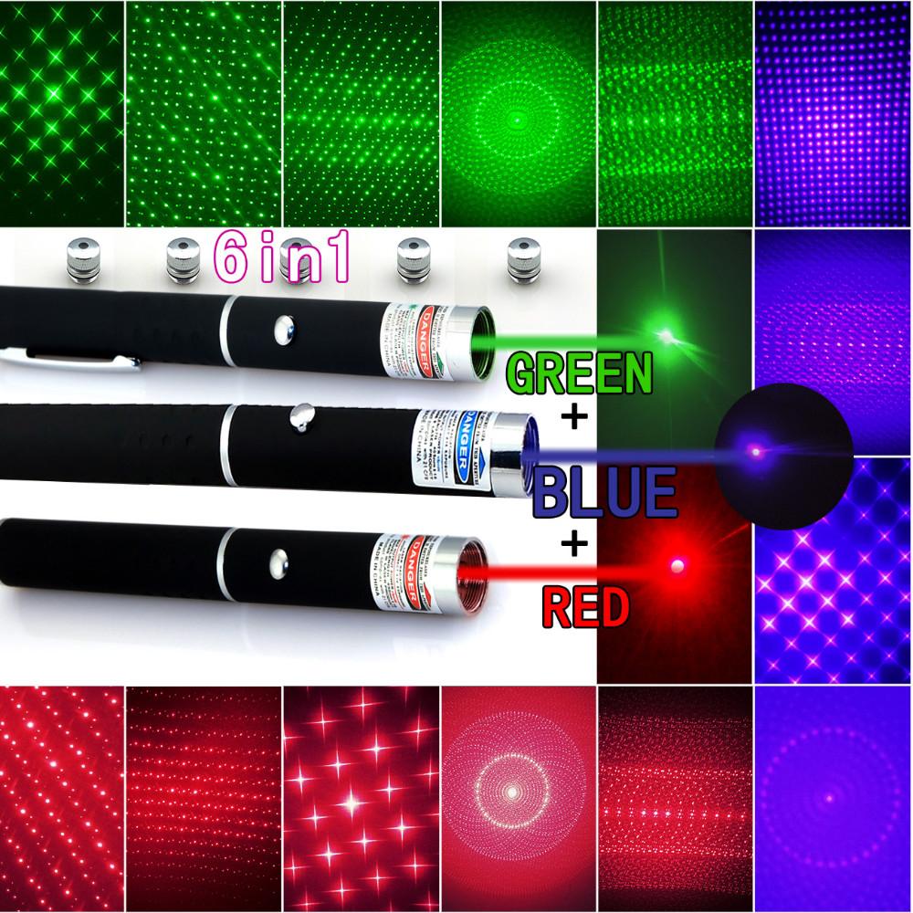 5スターキャップビーム光、絞り、万華鏡  ZOUGOUGO 5メガワット650nmの赤緑青レーザーポインターペンレーザー懐中電灯+ 3