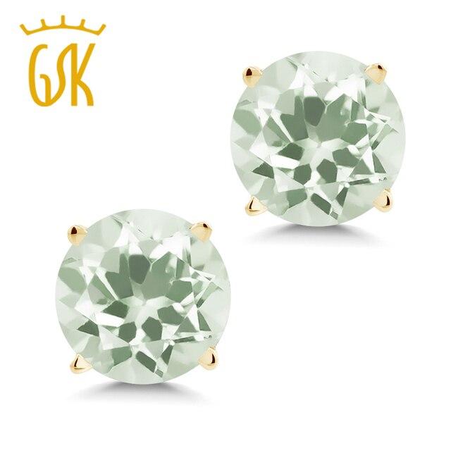 Women Jewelry Earring Austria 1 90 Ct Round 6mm Green Amethyst 14k Yellow Gold Stud Earrings High