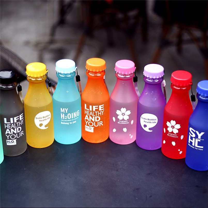 Unbreakable Outdoor Sports Travel Water Bottle Portable Leak-proof Transparent & Scrub+Rope 550ML NRQ25