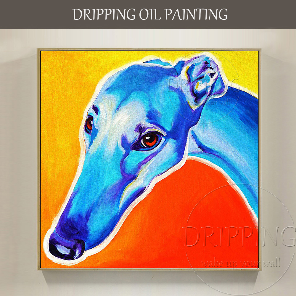 Painter Team Wholesale Hand-painted Dog Oil Painting Handmade Greyhound Painting Wall Art Decor Greyhound Dog Head Oil Painting