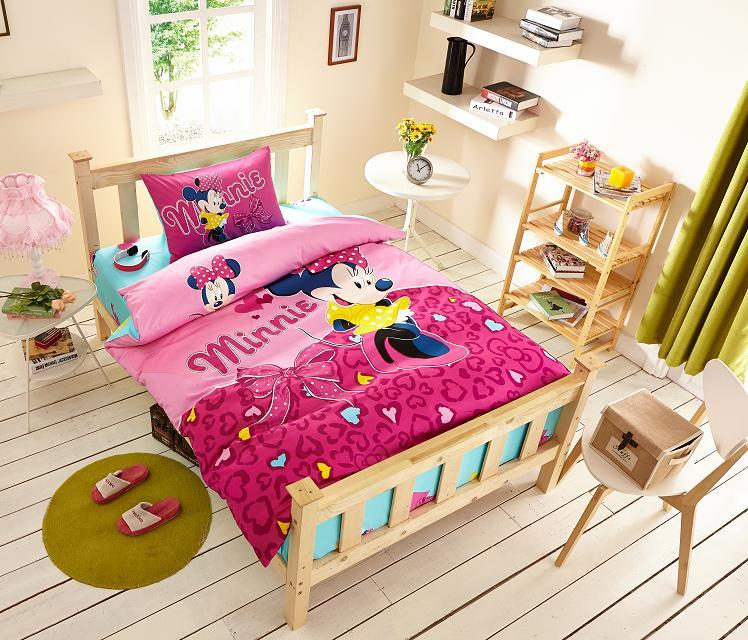 deep pink color minnie mouse print bedding set for girls kids home decor egyptian cotton bed