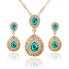 Fashion Elegant Lady Bride Wedding Red Imitation Gemstone Jewelry Crystal Water Drop Pendants Necklace Earrings Luxury Suits