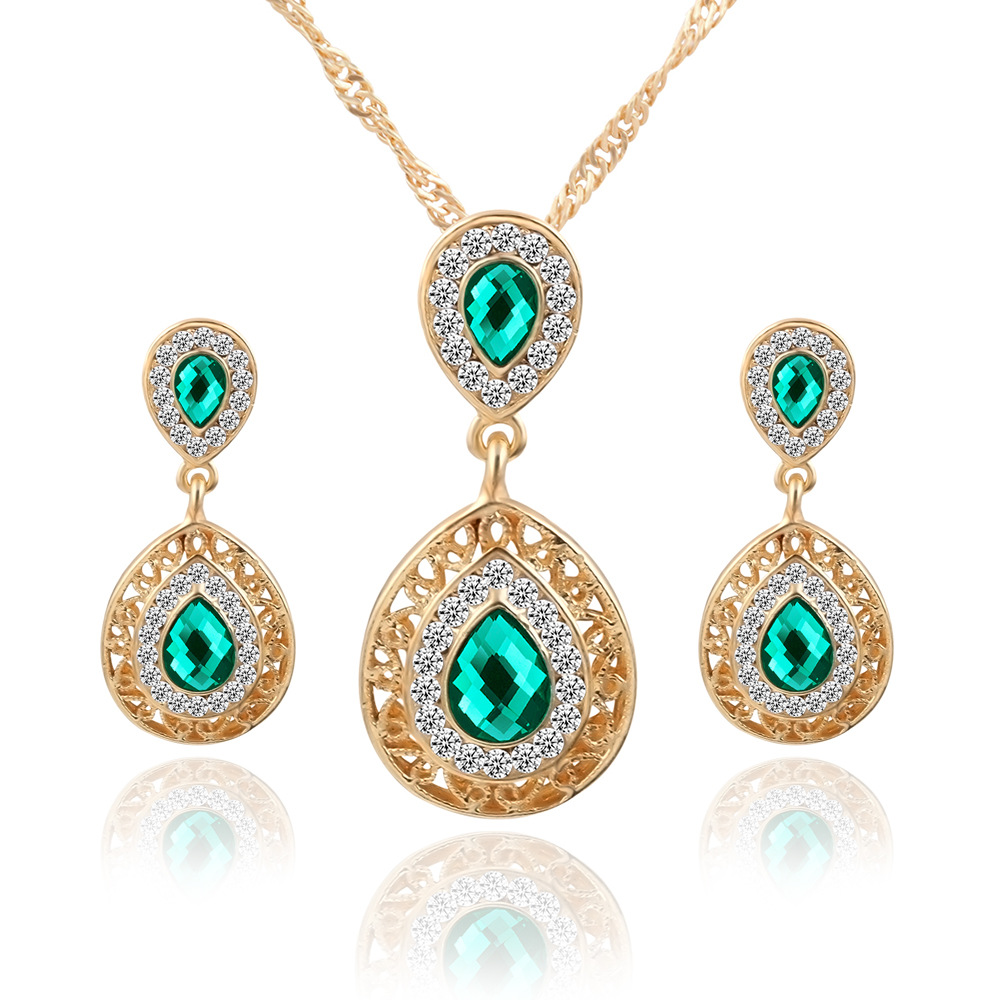 Fashion Elegant Lady Bride Wedding Red Imitation Gemstone Jewelry Crystal  Water Drop Pendants Necklace Earrings Luxury