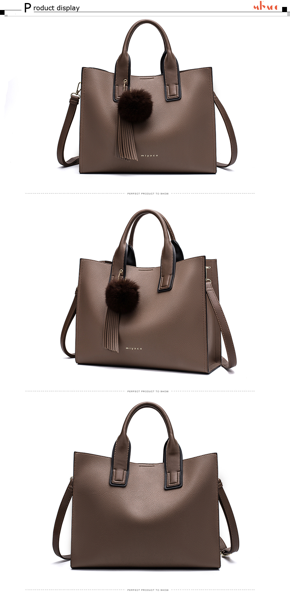 Miyaco Women Leather Handbags Casual Brown Tote bags Crossbody Bag TOP-handle bag With Tassel and fluffy ball 17