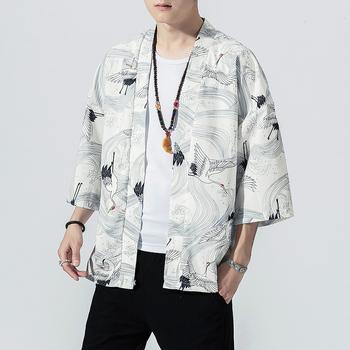 2019 oryginalny mężczyźni japonia styl kardigan kimono bluzka tradycyjne luźne druku mody dorywczo cienka kurtka lato odzież wierzchnia tanie i dobre opinie VOLGINS Otwórz stitch Kurtki płaszcze REGULAR Drukuj Cienkie Kieszenie Chiński styl Akrylowe Poliester V-neck NONE