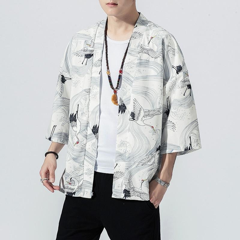 2020 Original Men Japan Style Kimono Cardigan Shirt Coat Traditional Loose Printing Fashion Casual Thin Jacket Summer Outerwear