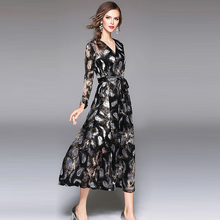 7bf59da32b4a 2018 New Spring Deep V Neck Print Casual Dress With Inner Strap Women  Office Work Long