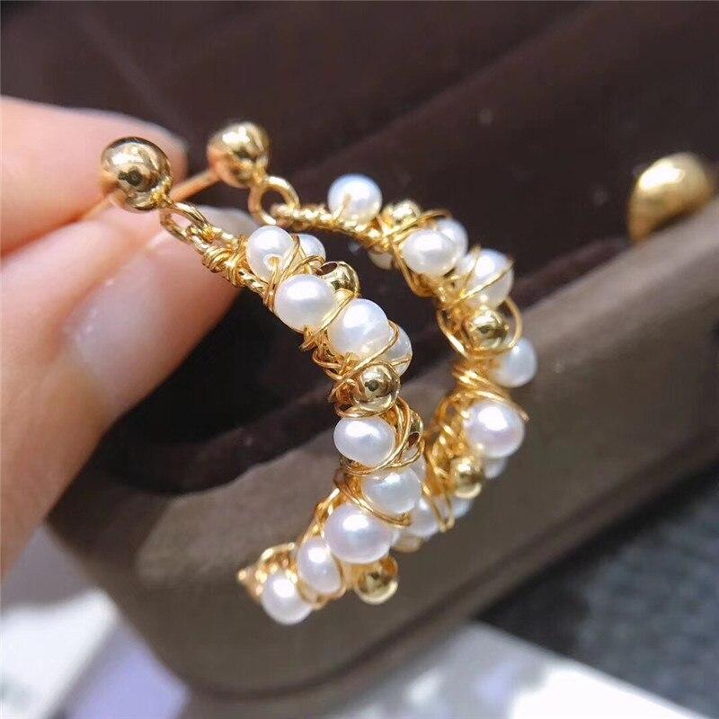 Femmes or rempli croissant design tissé à la main perle boucles d'oreilles pour les filles mode été accessoires élégant doux Brinco