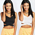 HOT! 2017 Abner Summer New Sexy Sleeveless V Neck Vest Casual Slim Solid Black and White Short Bottoming Tops Camisole Women