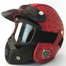 Moto capacete capacete Aberto da cara Do Vintage retro 3/4 metade do casco do capacete Motocross moto capacete Retro Motocicleta marrom preto vermelho