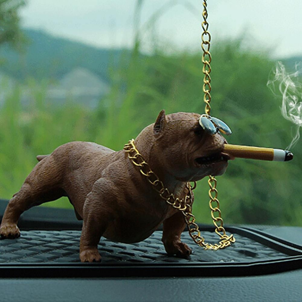 Bully Pitbull Simulated Car Dog Dolls Ornaments Pendant Automobiles Interior Decoration Ornaments Toys Gift Car Accessories