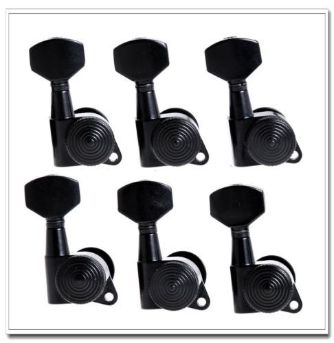 1set 6R Auto Lock Tuning Pegs Tuners Machine Heads Black a set chrome sealed gear tuning pegs machine heads tuners for guitar with black big square wood texture buttons