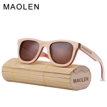 MAOLEN Wood Sunglasses Women Skateboard frame Sunglass Polarized Lenses Eyewear UV400 Protective Shades New Design Sun Glasses