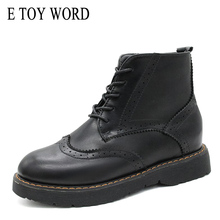 E TOY WORD woman booties Fashion Women Autumn Shoes Bullock Women Ankle Boots Comfortable Round toe lace up Martin boots Size 40 morazora 2018 new fashion style ankle boots for women lace up round toe autumn winter boots comfortable platform shoes woman