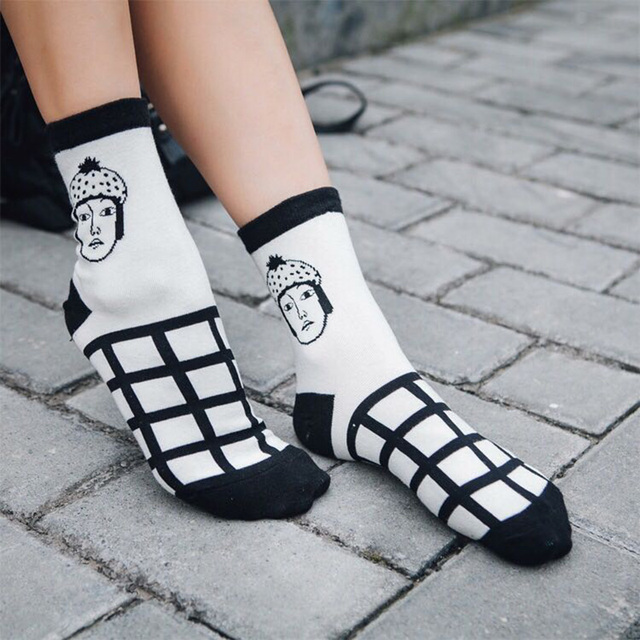Women's Faces Printed Cotton Socks