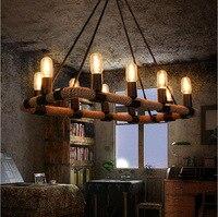 Американский кантри старинные конопли железа подвесной светильник Бар KTV столовой отеля украшения прямоугольной висит освещения