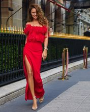 2018 new women dress wholesale red black off the shouders split fringe long  maxi bandage dress party dress dropshipping 2991df2d96c4