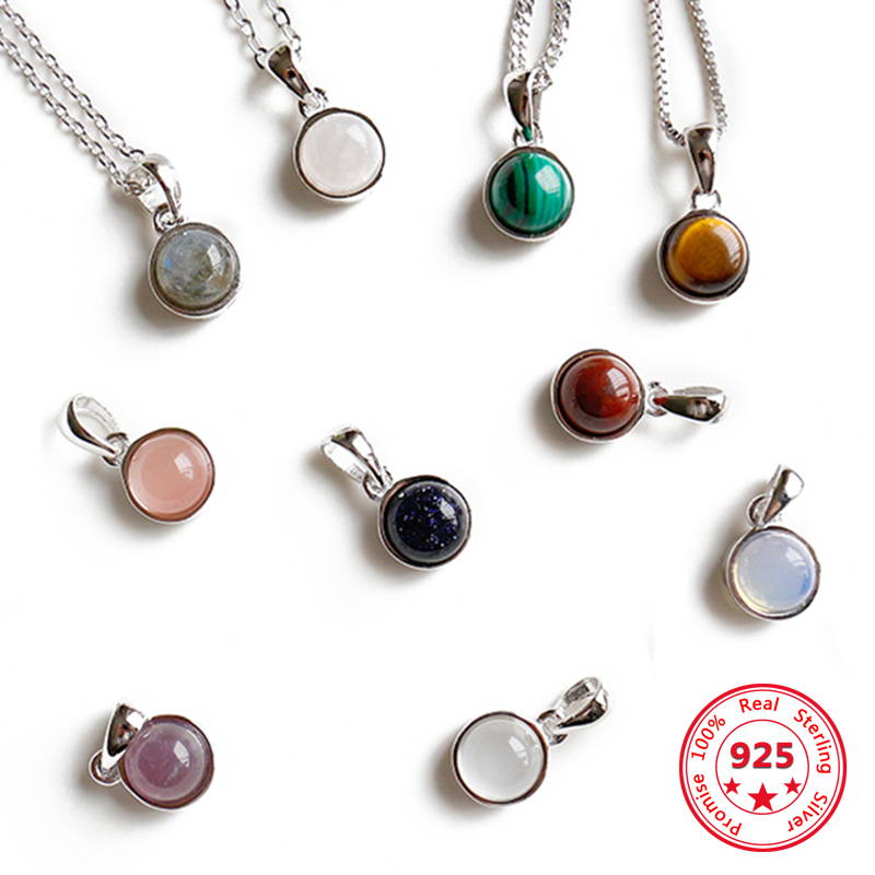 Hot Sale 100% 925 Sterling Silver Customizable Natural Malachite Labradorite Crystal Agate Opal Tigereye Gem Pendants Jewelry