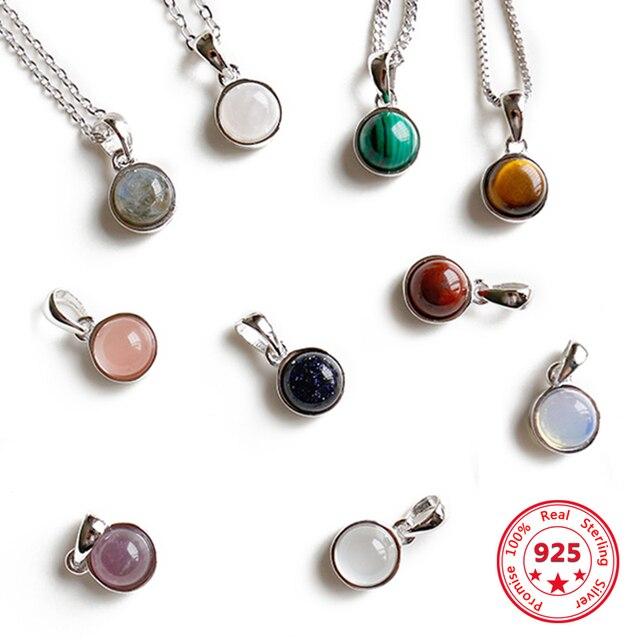 Offre spéciale 100% 925 argent Sterling personnalisable naturel Malachite Labradorite cristal Agate opale Tigereye gemme pendentifs bijoux