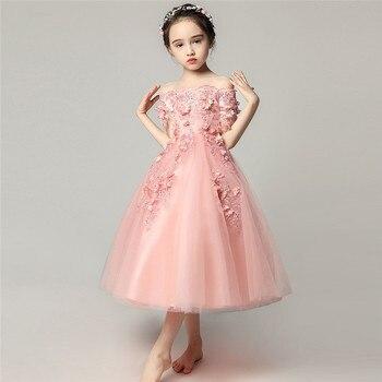 Toddler Kids Shoulderless Princess Flowers Birthday Party Dress Summer New Fashion Elegant Wedding Casual Party Costume Dress