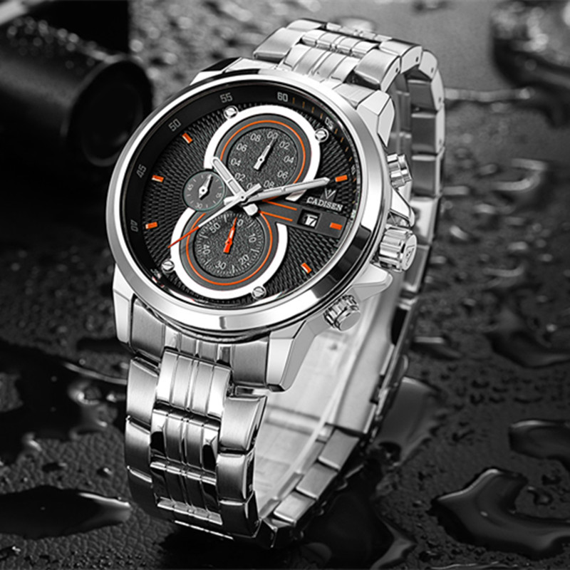 2017 Mens Watches CADISEN Top Brand Luxury Casual Military Sport Wristwatch Fashion Stainless Steel Male Clock Relogio Masculino cadisen top new mens watches top brand luxury complete calendar 3atm sport watches for men clock stainless steel horloges mannen