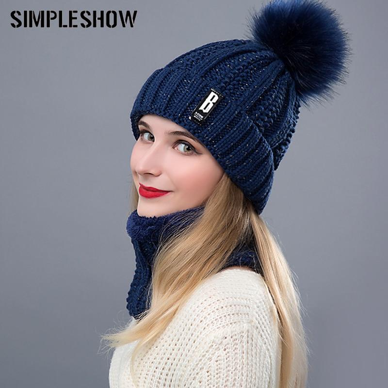 2019新しいニット冬の帽子スカーフセット女性厚い綿ビーニーとリングスカーフ女性ニット冬のアクセサリー女の子ギフトШляпа
