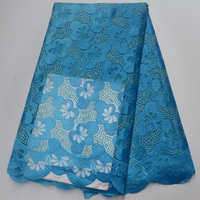 7 coors (5yards/pc) turquoise blue African French net lace tulle lace fabric with beautiful embroidery for party dress FLP040