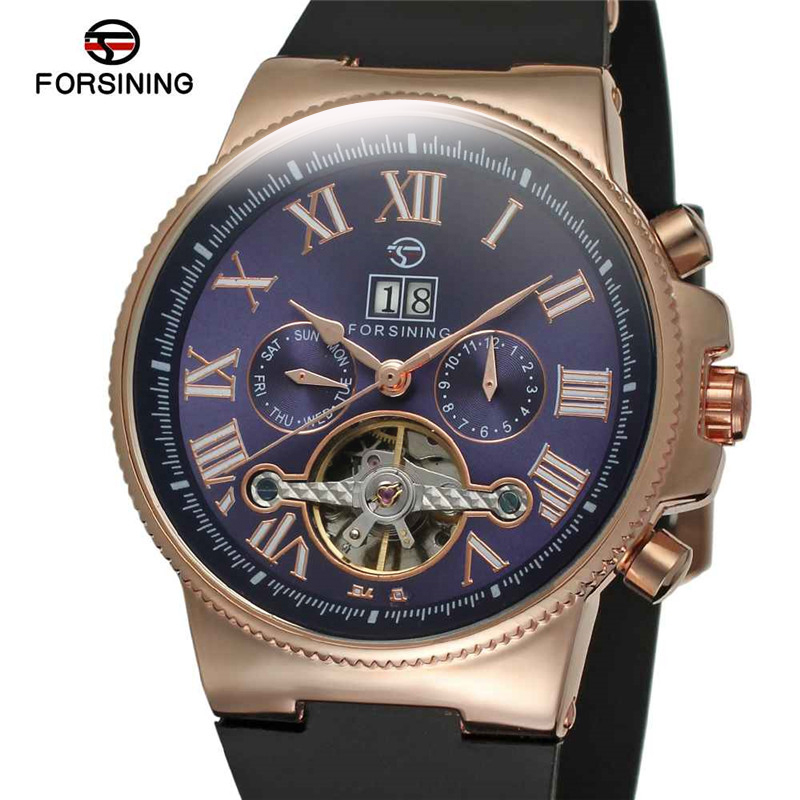 FORSINING Automatic Mens Watches Top Brand Luxury Tourbillon Clock Herren Uhren Casual Sports Rubber Men Mechanical Wristwatch orkina relojes 2016 new clock mens watches top brand luxury herren cool watche for men with gift box montres